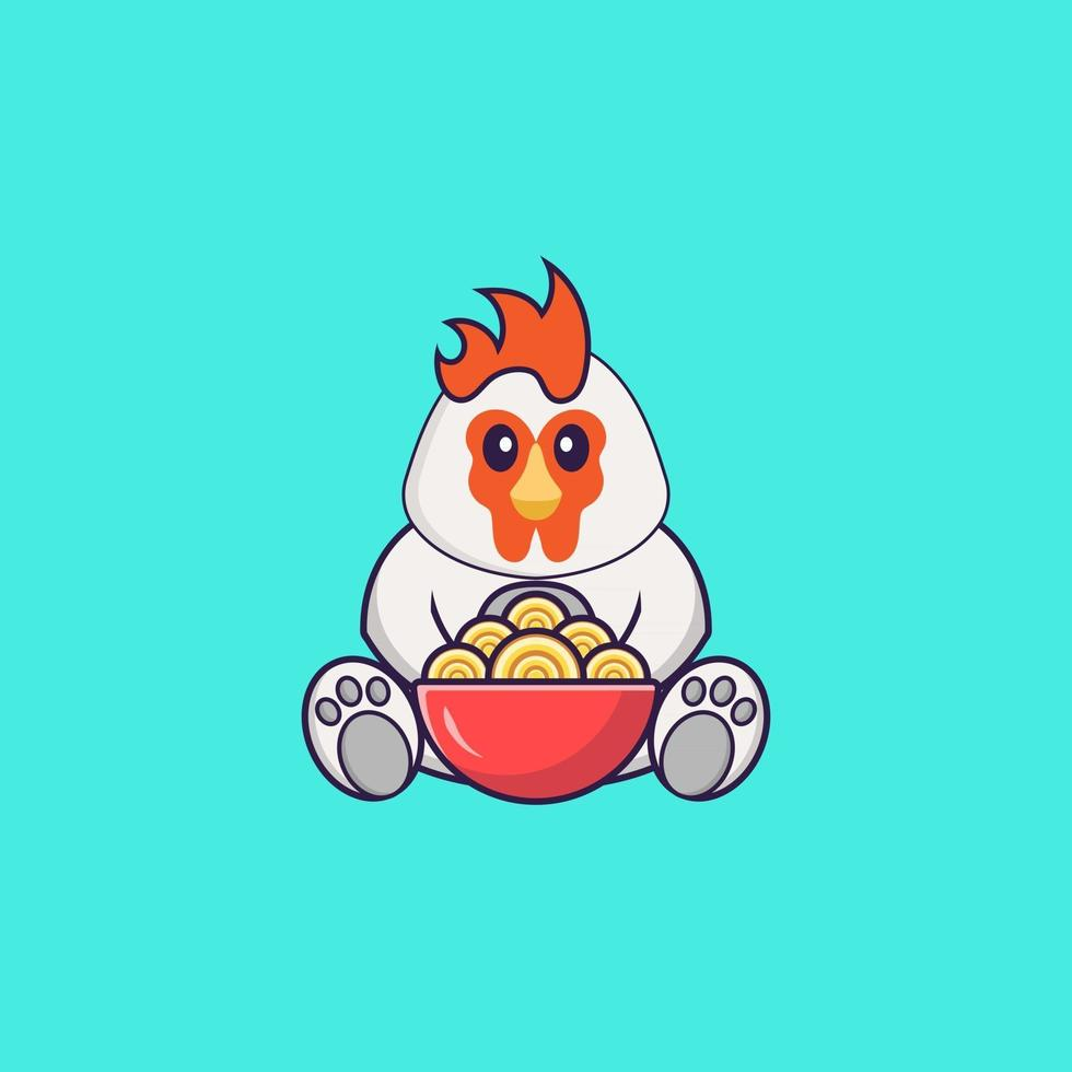 Cute chicken eating ramen noodles. Animal cartoon concept isolated. Can used for t-shirt, greeting card, invitation card or mascot. Flat Cartoon Style vector