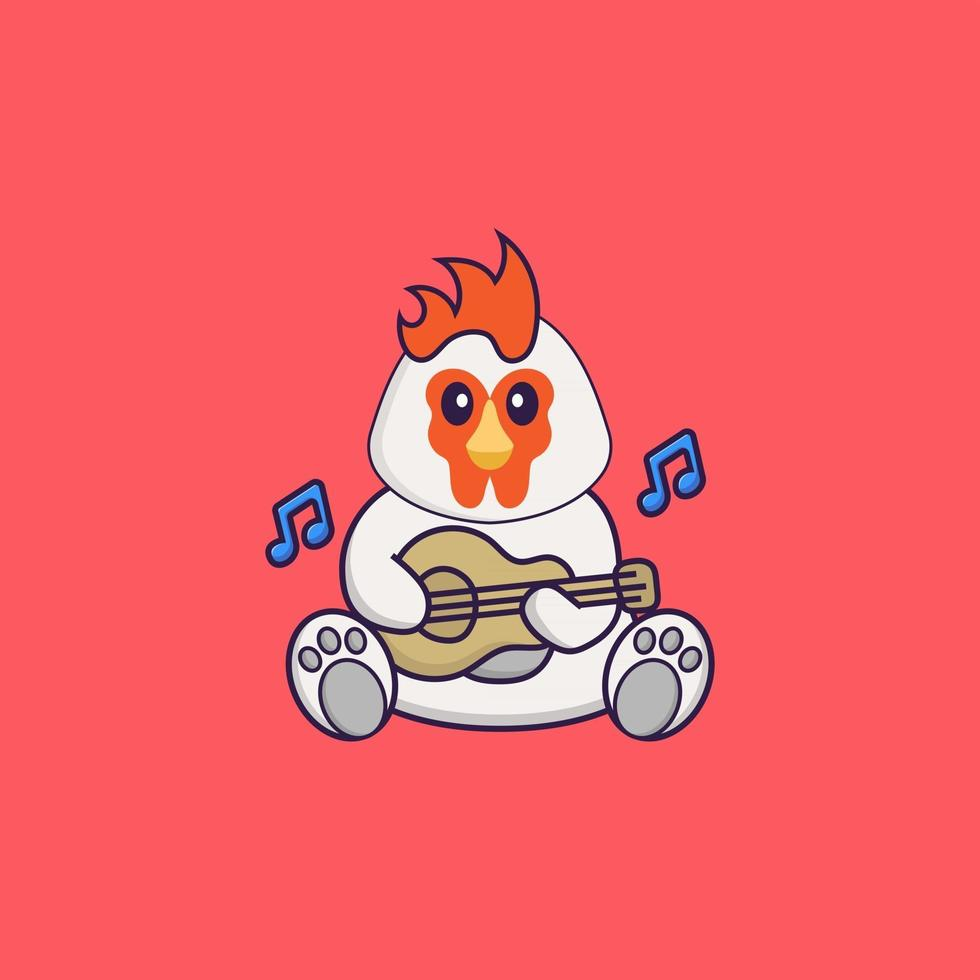 Cute chicken playing guitar. Animal cartoon concept isolated. Can used for t-shirt, greeting card, invitation card or mascot. Flat Cartoon Style vector