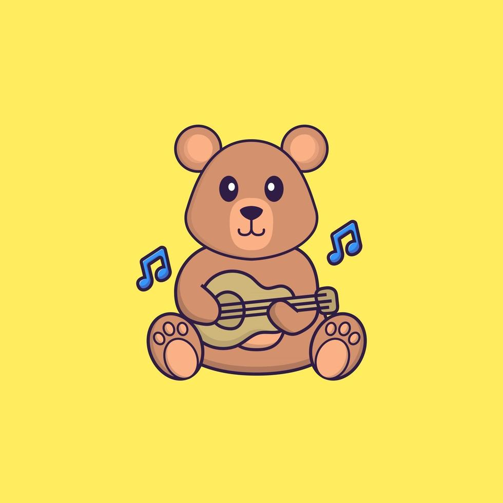 Cute rat playing guitar. Animal cartoon concept isolated. Can used for t-shirt, greeting card, invitation card or mascot. Flat Cartoon Style vector