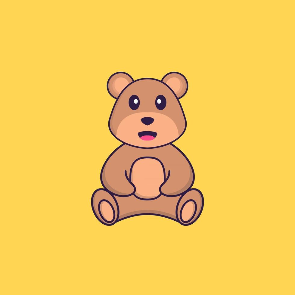 Cute bear is sitting. Animal cartoon concept isolated. Can used for t-shirt, greeting card, invitation card or mascot. Flat Cartoon Style vector