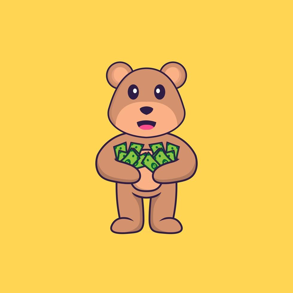 Cute bear holding money. Animal cartoon concept isolated. Can used for t-shirt, greeting card, invitation card or mascot. Flat Cartoon Style vector