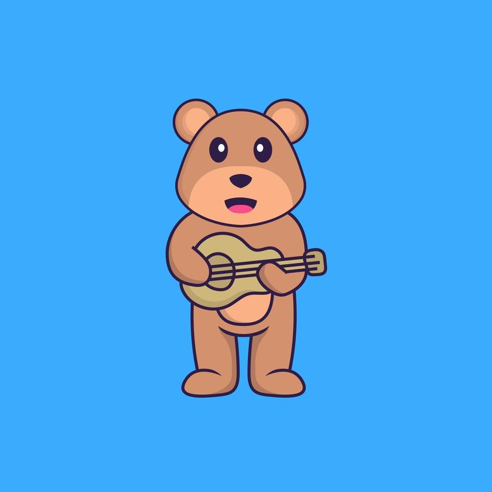 Cute bear playing guitar. Animal cartoon concept isolated. Can used for t-shirt, greeting card, invitation card or mascot. Flat Cartoon Style vector