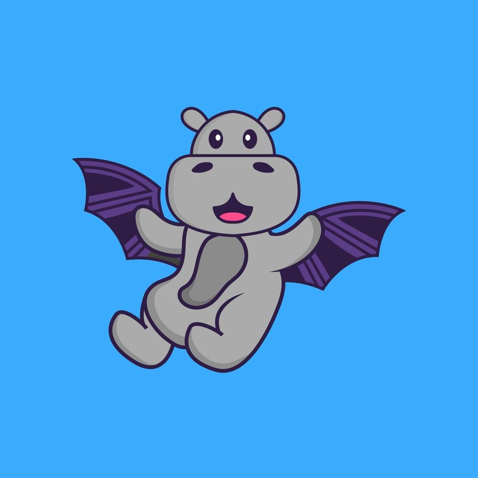 Cute hippopotamus is flying with wings. Animal cartoon concept isolated. Can used for t-shirt, greeting card, invitation card or mascot. Flat Cartoon Style vector