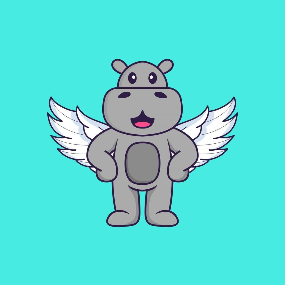 Cute hippopotamus using wings. Animal cartoon concept isolated. Can used for t-shirt, greeting card, invitation card or mascot. Flat Cartoon Style vector