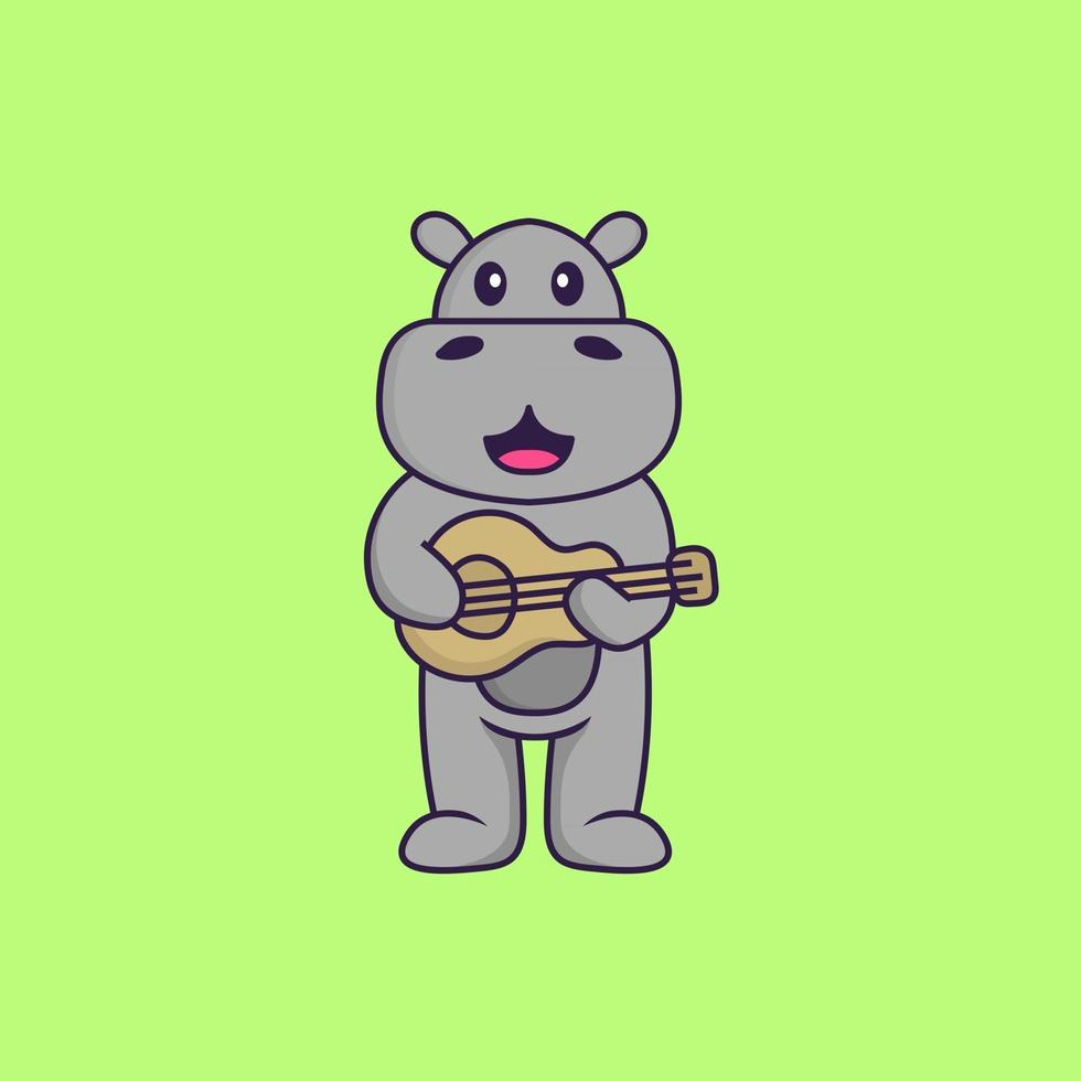 Cute hippopotamus playing guitar. Animal cartoon concept isolated. Can used for t-shirt, greeting card, invitation card or mascot. Flat Cartoon Style vector