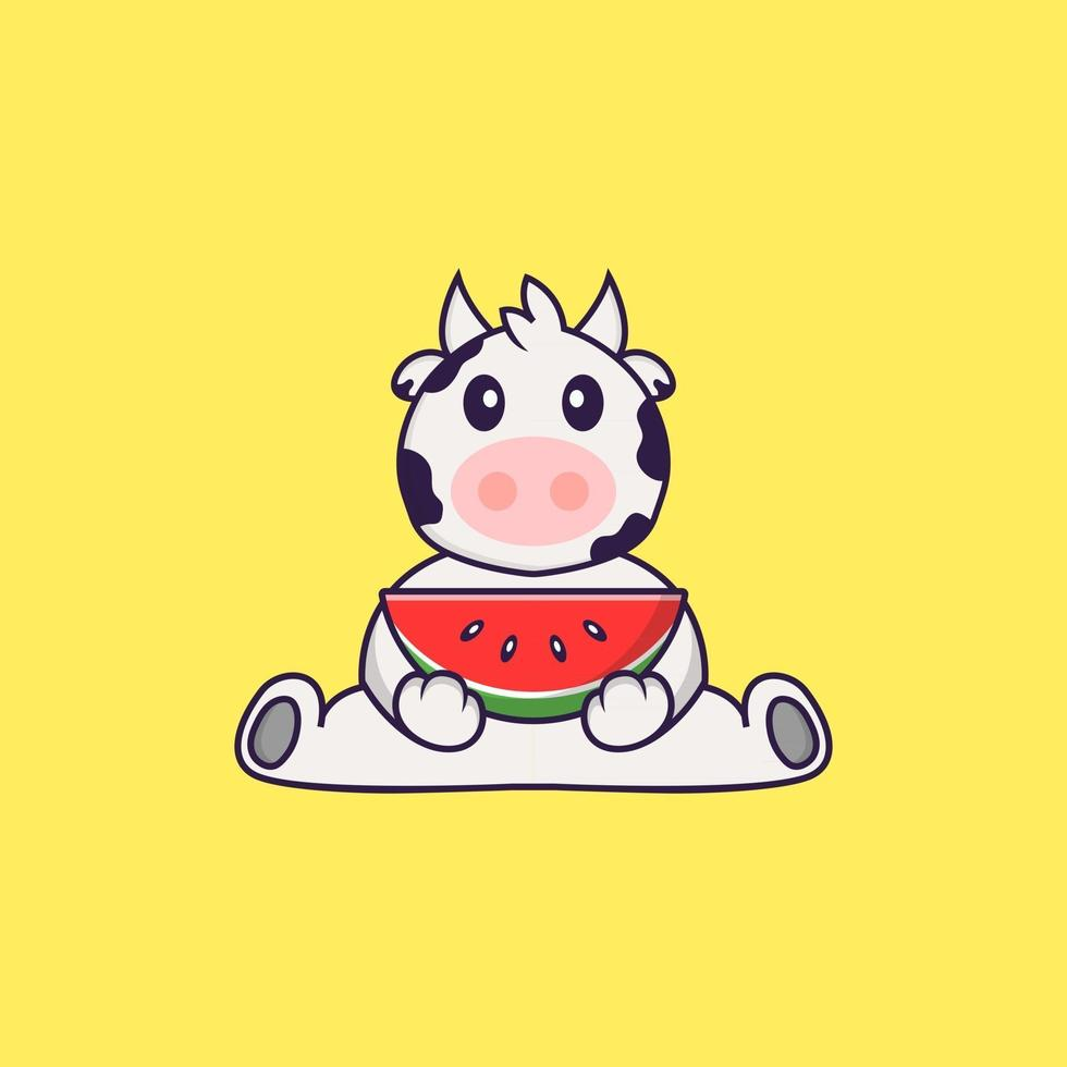 Cute cow eating watermelon. Animal cartoon concept isolated. Can used for t-shirt, greeting card, invitation card or mascot. Flat Cartoon Style vector