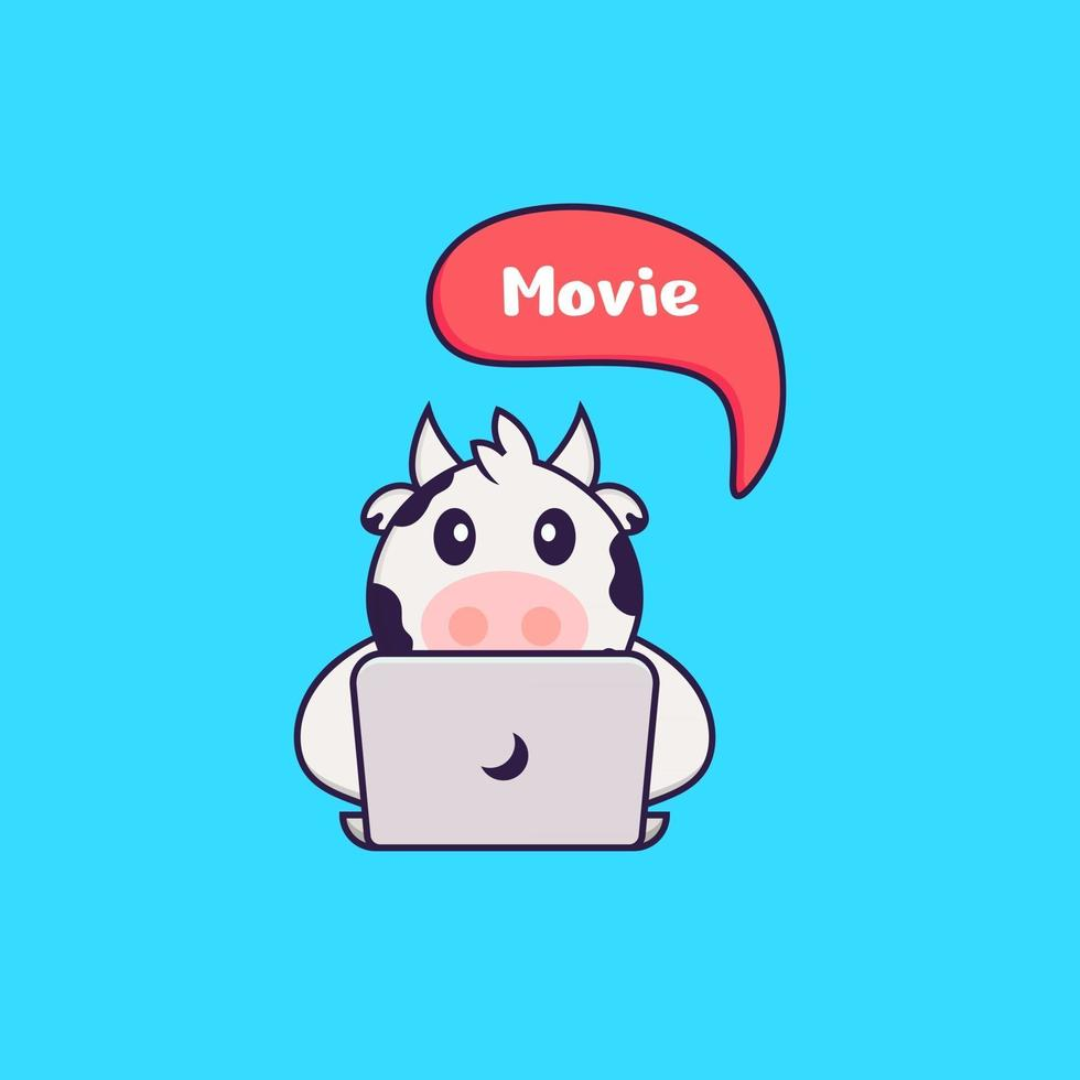 Cute cow is watching a movie. Animal cartoon concept isolated. Can used for t-shirt, greeting card, invitation card or mascot. Flat Cartoon Style vector