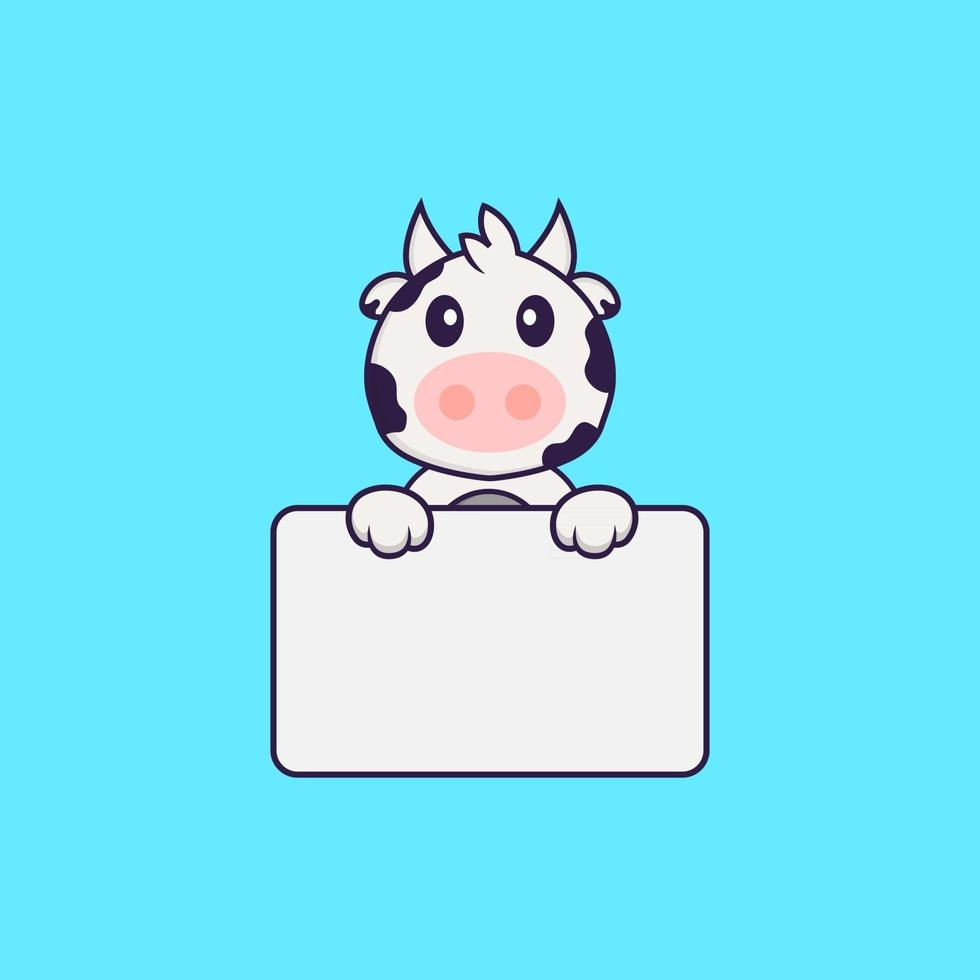 Cute cow holding whiteboard. Animal cartoon concept isolated. Can used for t-shirt, greeting card, invitation card or mascot. Flat Cartoon Style vector