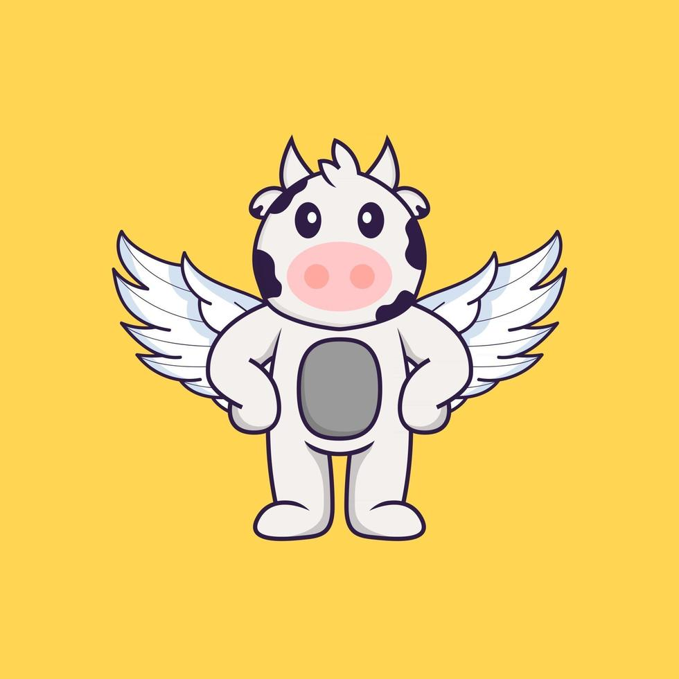 Cute cow using wings. Animal cartoon concept isolated. Can used for t-shirt, greeting card, invitation card or mascot. Flat Cartoon Style vector
