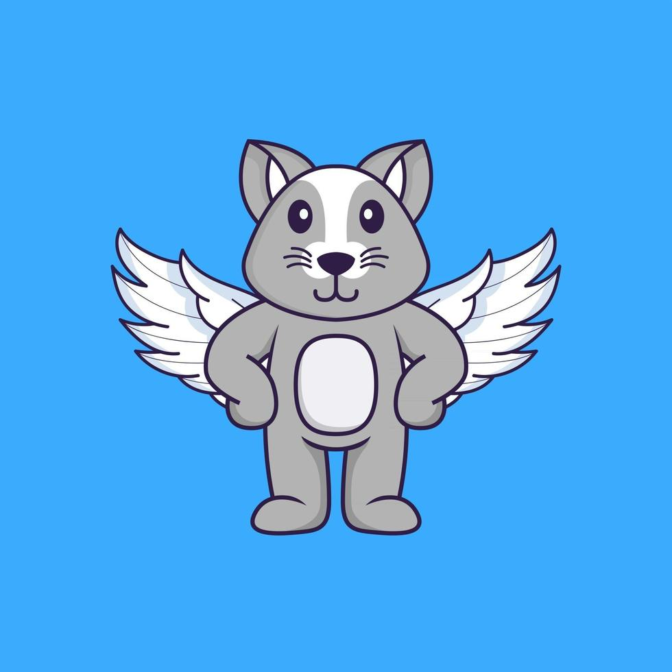 Cute rat using wings. Animal cartoon concept isolated. Can used for t-shirt, greeting card, invitation card or mascot. Flat Cartoon Style vector
