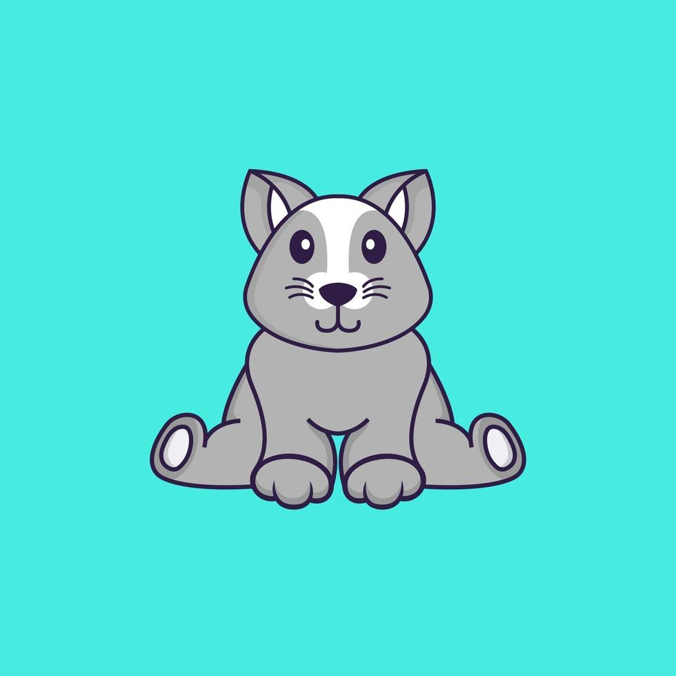 Cute rat is sitting. Animal cartoon concept isolated. Can used for t-shirt, greeting card, invitation card or mascot. Flat Cartoon Style vector
