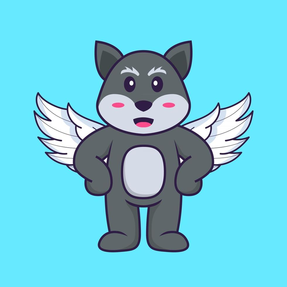 Cute fox using wings. Animal cartoon concept isolated. Can used for t-shirt, greeting card, invitation card or mascot. Flat Cartoon Style vector