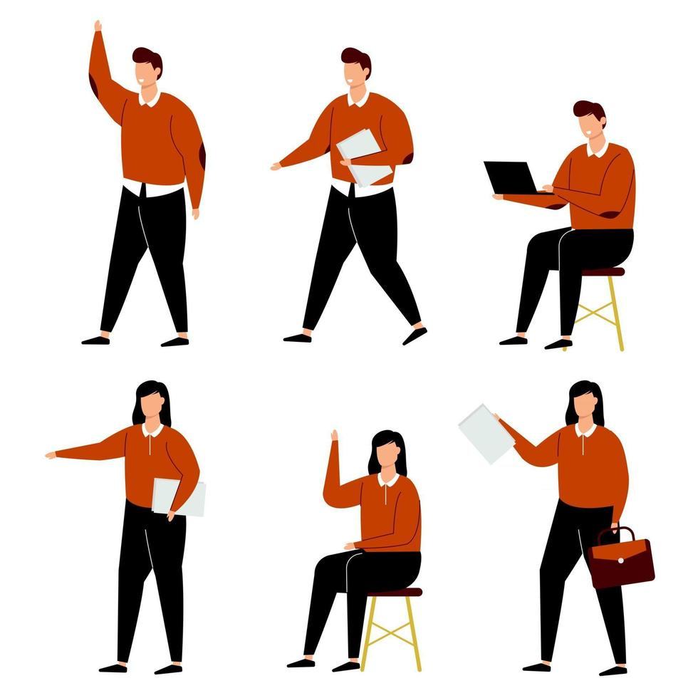 Set of people work from home cartoon character collection vector