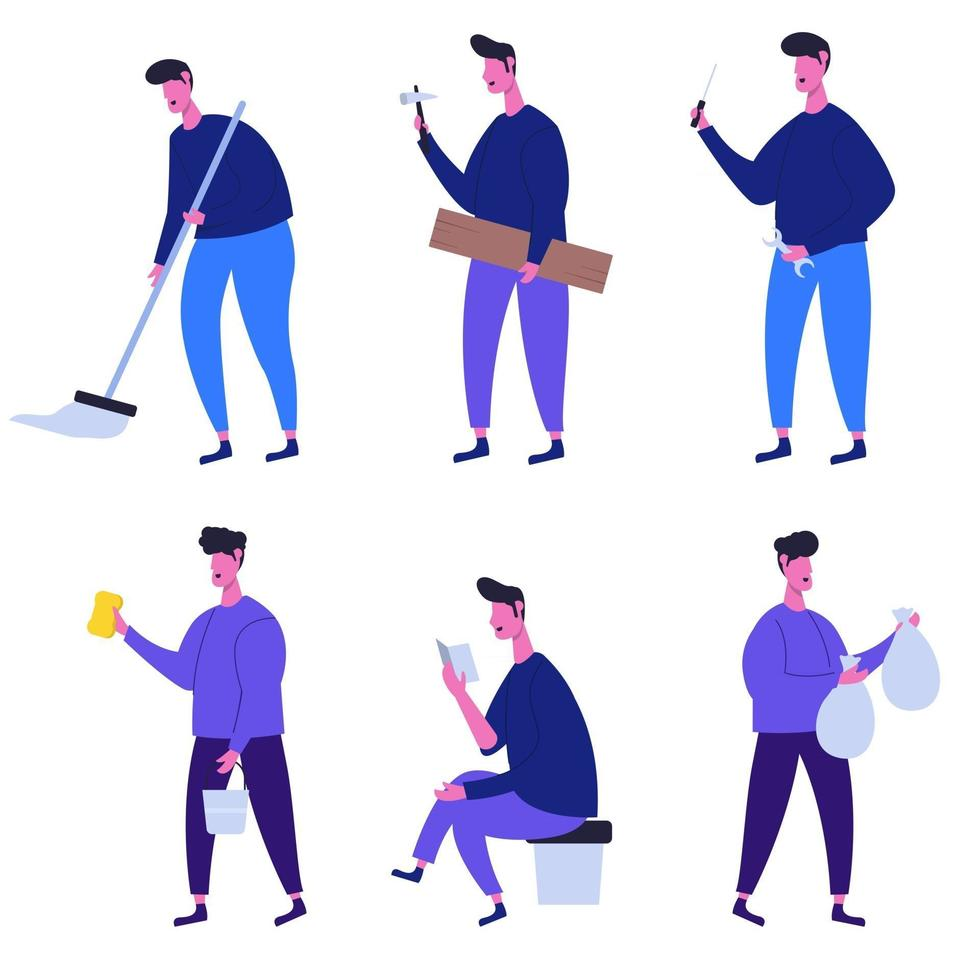 Set of people cartoon character collection vector illustration