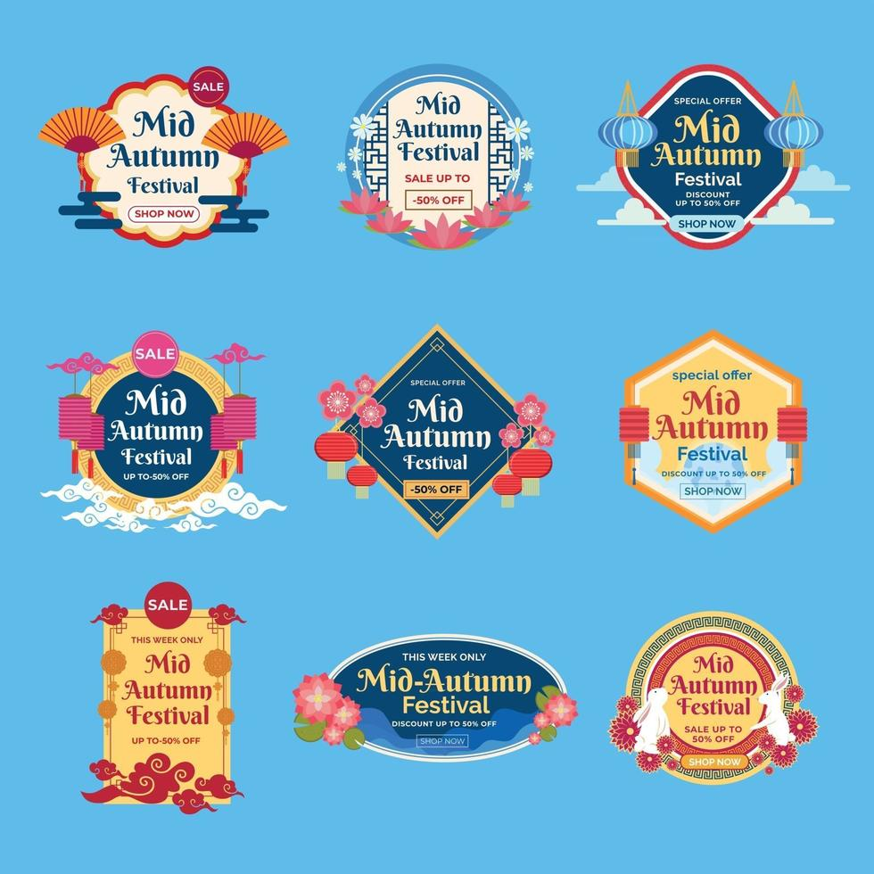 Mid Autumn Festival Sale Badges vector