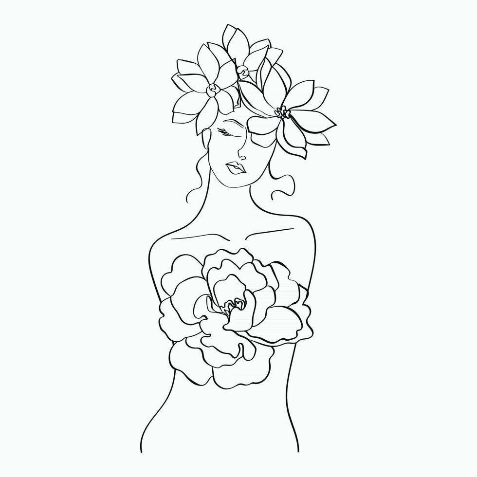 Women and flowers line art. Girl with flowers and leaves one line vector drawing. Portrait continuous line art drawing for prints, tattoos, cosmetics, fashion, Beauty salon and wall home decoration.