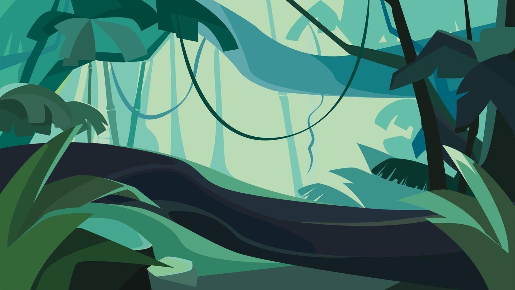 Dense tropical forest. vector