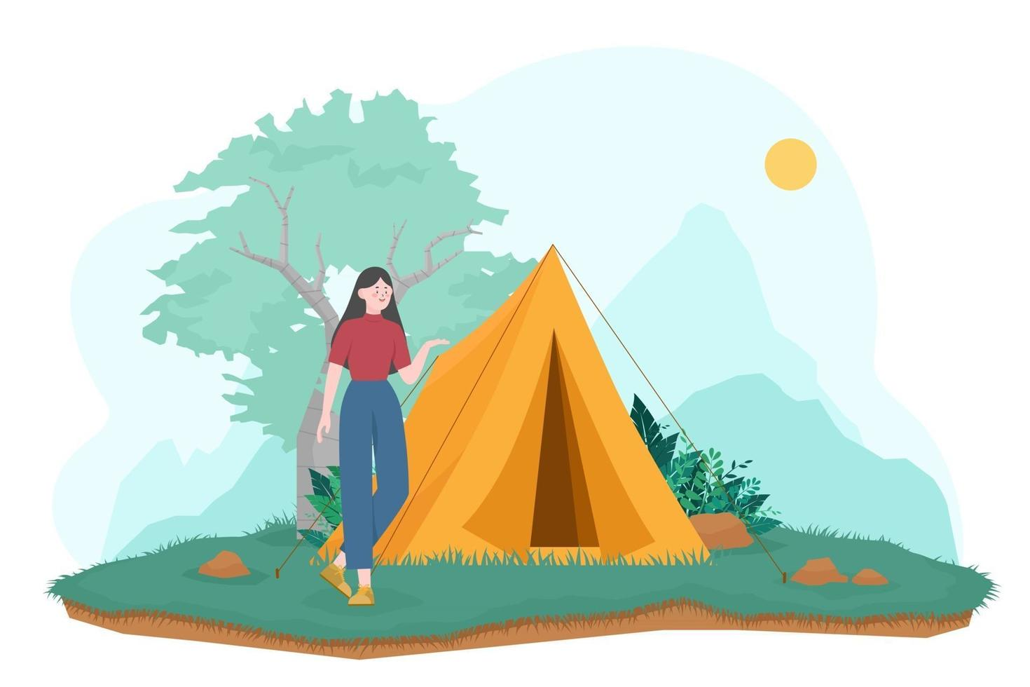 Tourist Summer camping vector illustration with Camping tents Outdoor nature adventure