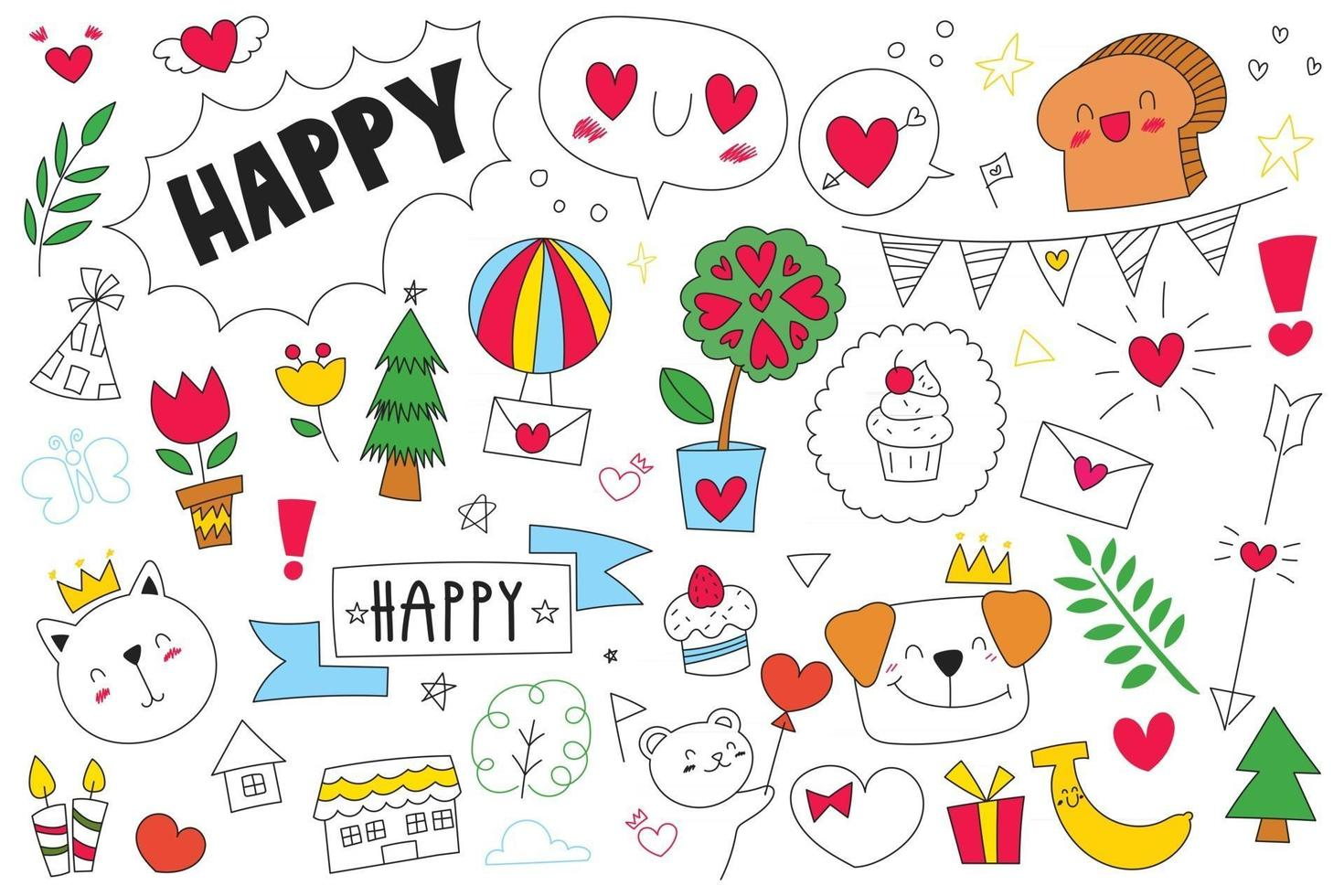 Outline hand drawn doodle set of objects and symbols on Celebration, new year and birthday theme. Vector illustration.