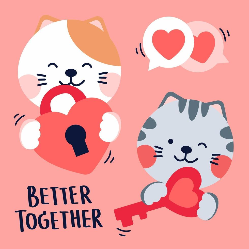 Cats in love with each other, with key. better together quote. Dark background. vector