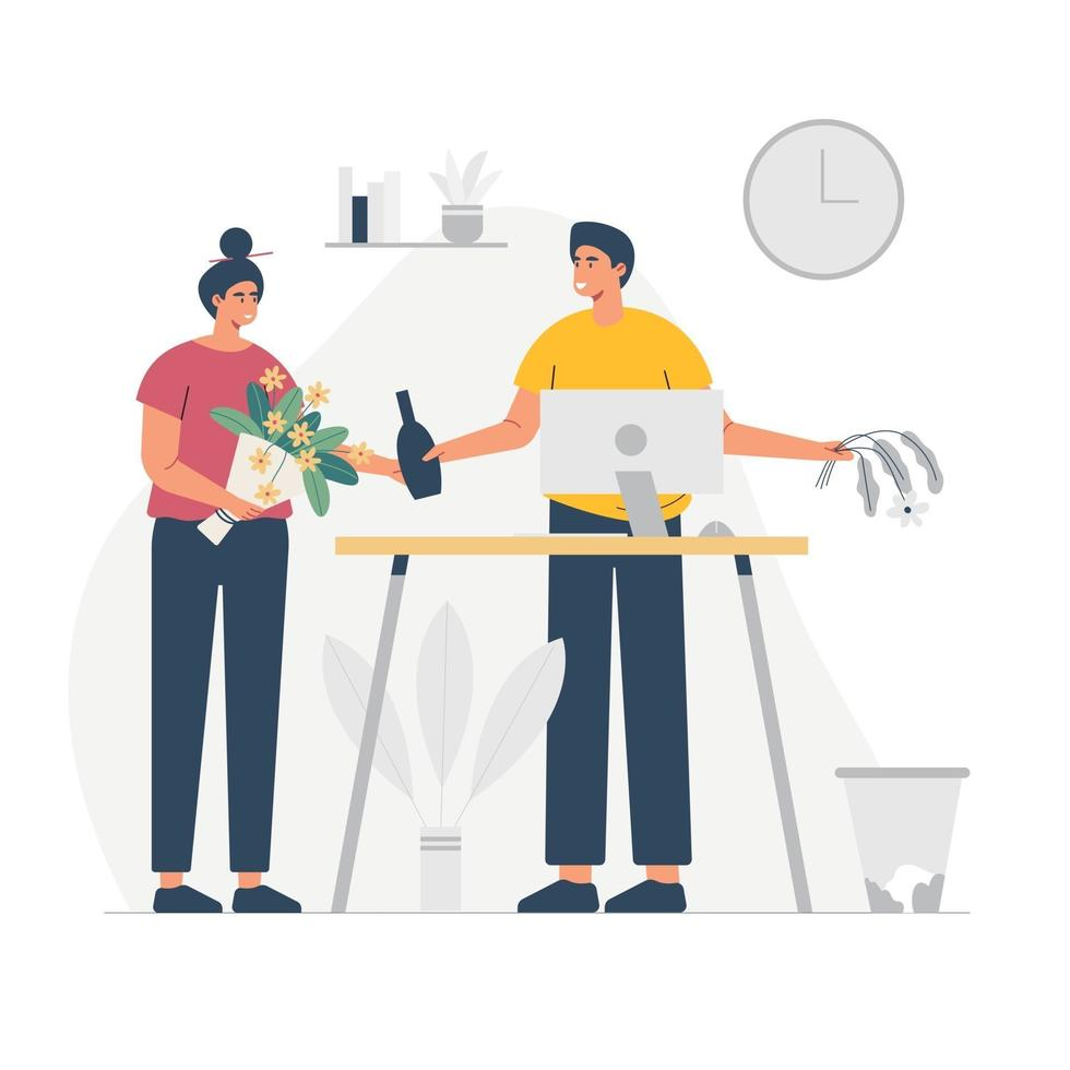 A man sharing bottle and a girl holding flowers in a nice white house interior. Flat vector illustration. Modern interior.