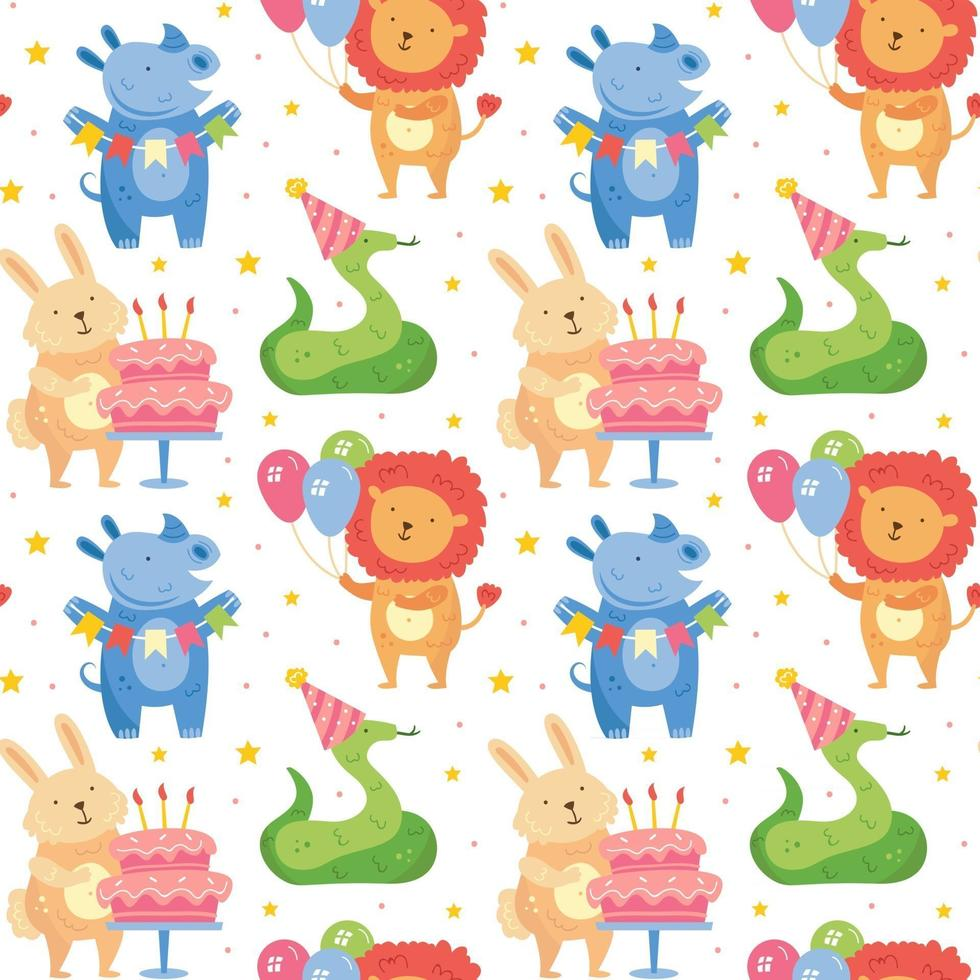 Happy birthday seamless pattern Cute animals celebrating together Rabbit rhino snake lion Holiday decoration present cake balloons Vector illustration for children Isolated on background