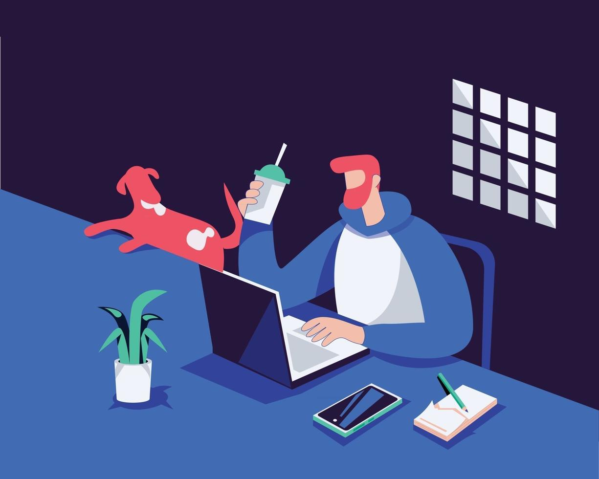 Work from home illustration concept vector, man using laptop vector