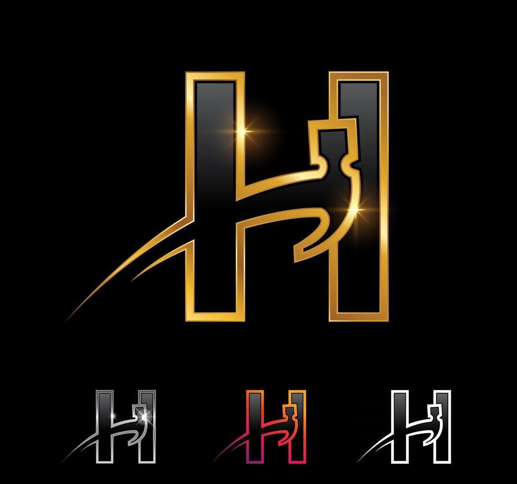 Golden Monogram Hammer Letter H vector