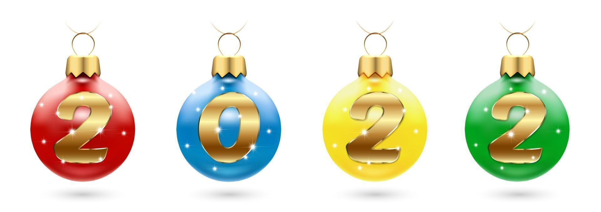 Christmas decorations with numbers 2022 - balls with sparkling diamonds. Happy New Year and Merry Christmas greetings. A set of four toys in different colors. Isolated on a white background. Vector illustration.