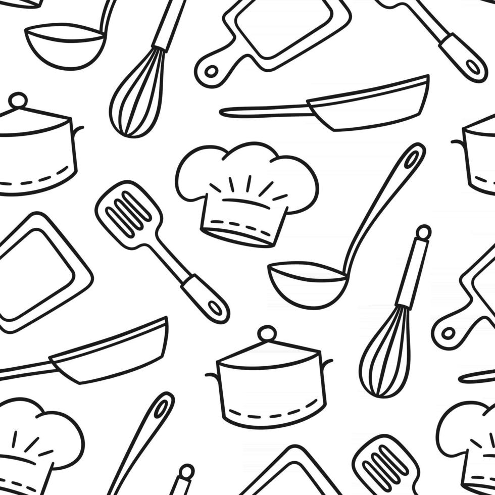 Hand drawn seamless pattern on the theme of chef and cook. Vector illustration in doodle style on white background