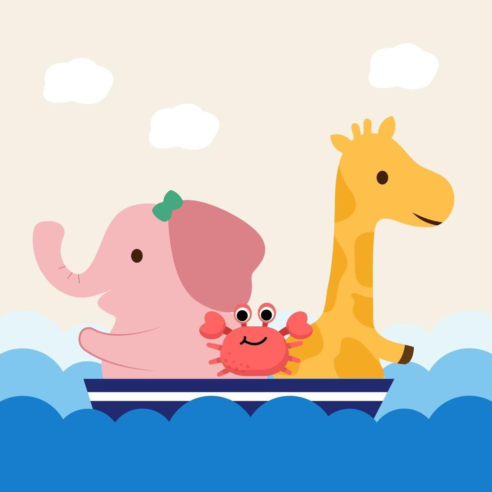 A giraffe and an elephant used long weekend on a sea cruise vector