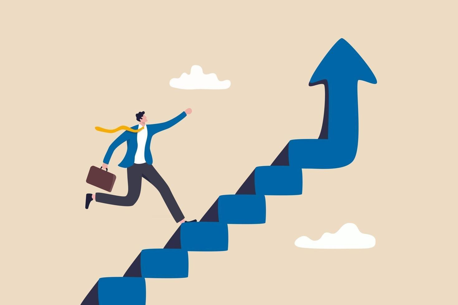 Improvement or career growth, stairway to success, growing income or improve skill to achieve business target concept, confidence businessman step walking up stair of success with rising up arrow. vector