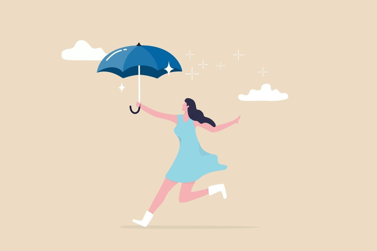 Embrace happiness and positive thinking, protection from depression or anxiety, woman wellbeing and lifestyle concept, cute young adult happy lady holding umbrella dancing in the raining cloud. vector