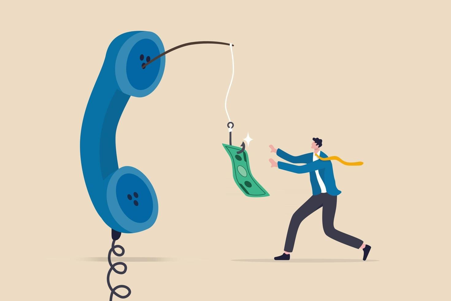 Phone scam, telephone call lying about fake investment, fraud to steal money from victim, financial crime concept, greedy man chasing easy money bait from thief phone call lying for paying scams. vector