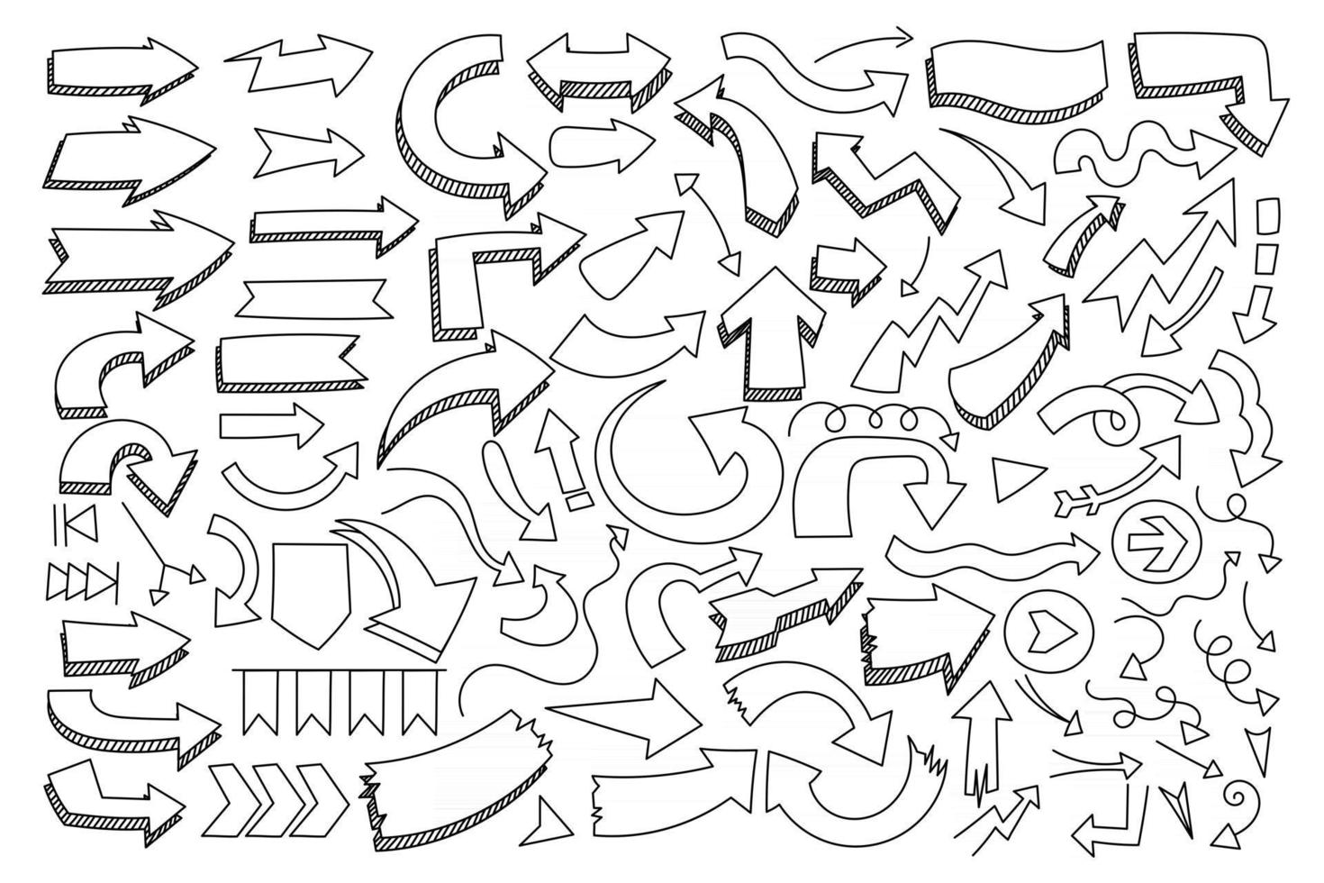 Various of different hand drawn arrow and pointer in doodle style. vector