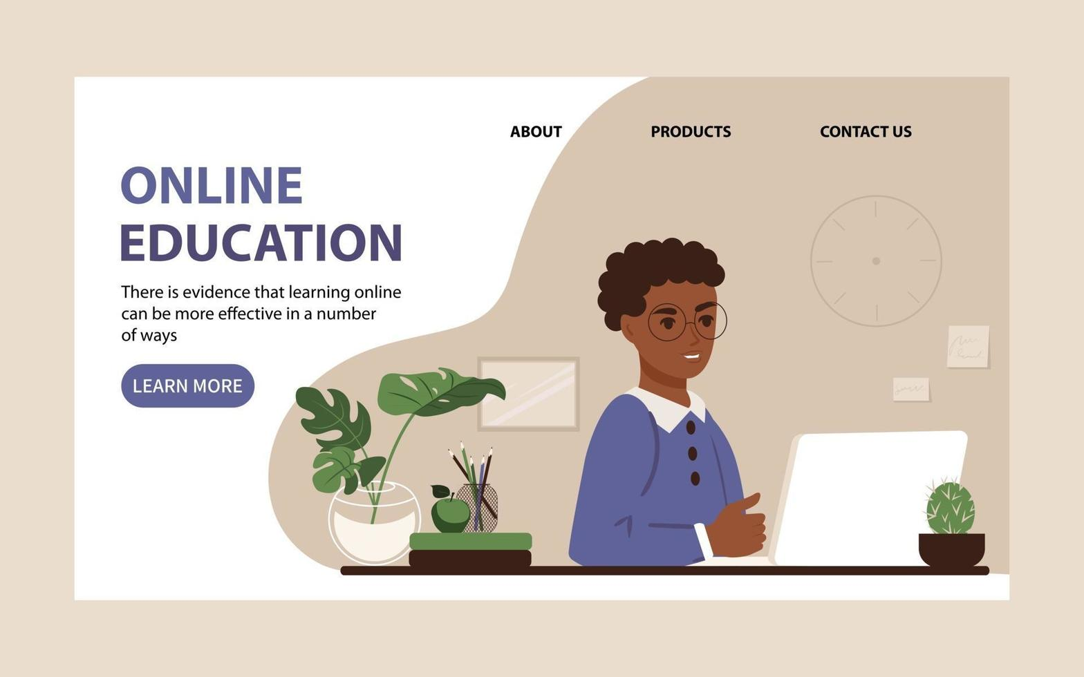 Online education for children landing page. African American schoolboy studies in front of a laptop monitor at home. Flat vector illustration