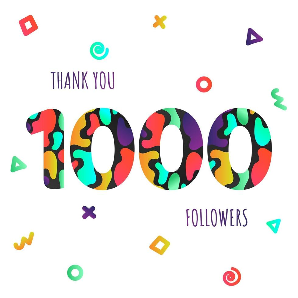 Thank you 1000 followers numbers postcard. Congratulating gradient flat style gradient 1k thanks image vector illustration isolated on white background. Template for internet media and social networks