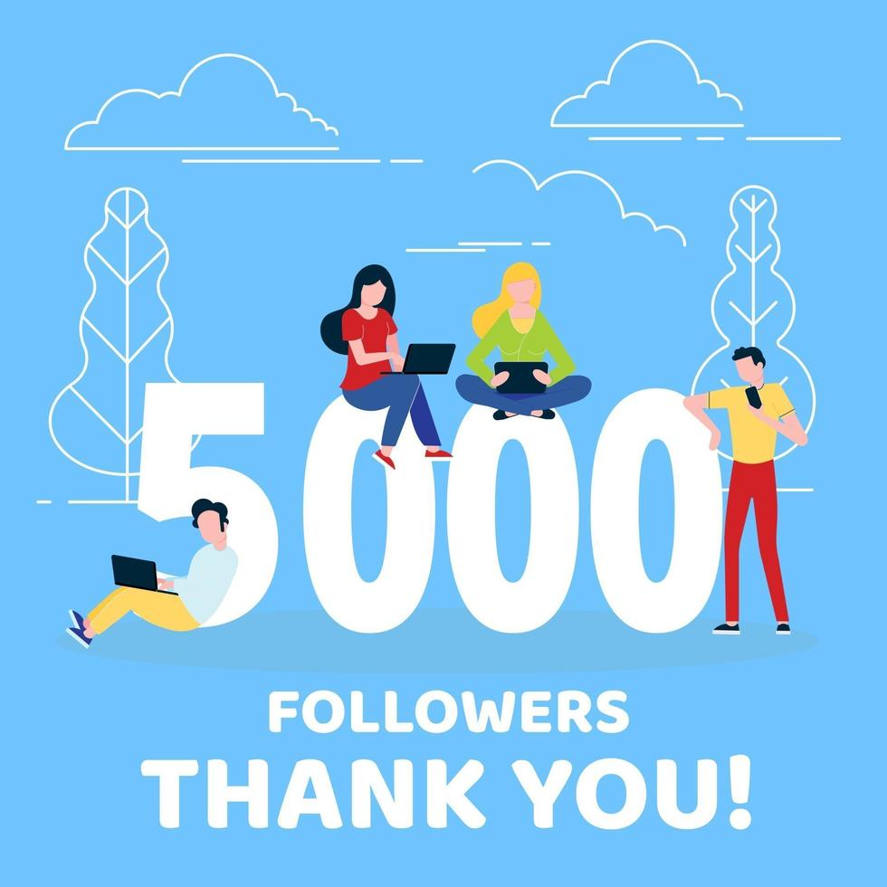 Thank you 5000 followers numbers postcard. Congratulating gradient flat style gradient 1k thanks image vector illustration isolated on white background. Template for internet media and social networks