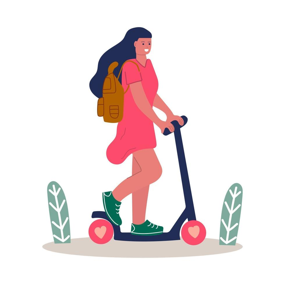 Cute girl in pink dress with backpack ride scooter. Summer time concept. vector