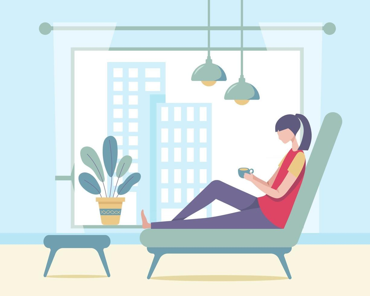 A young woman refreshed the morning with her favorite coffee in her living room at the tall condo vector