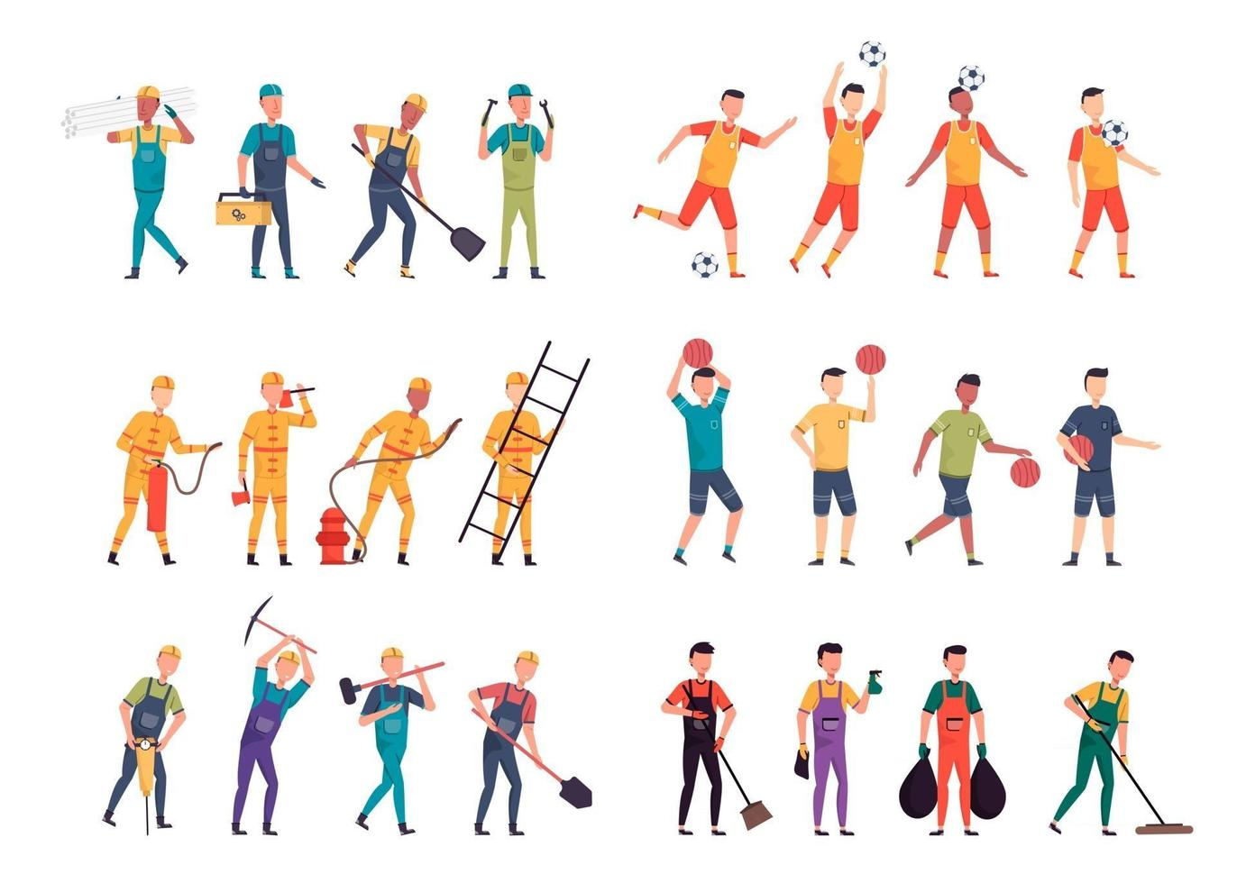 Bundle of many career character 6 sets, 24 poses of various professions, lifestyles, vector