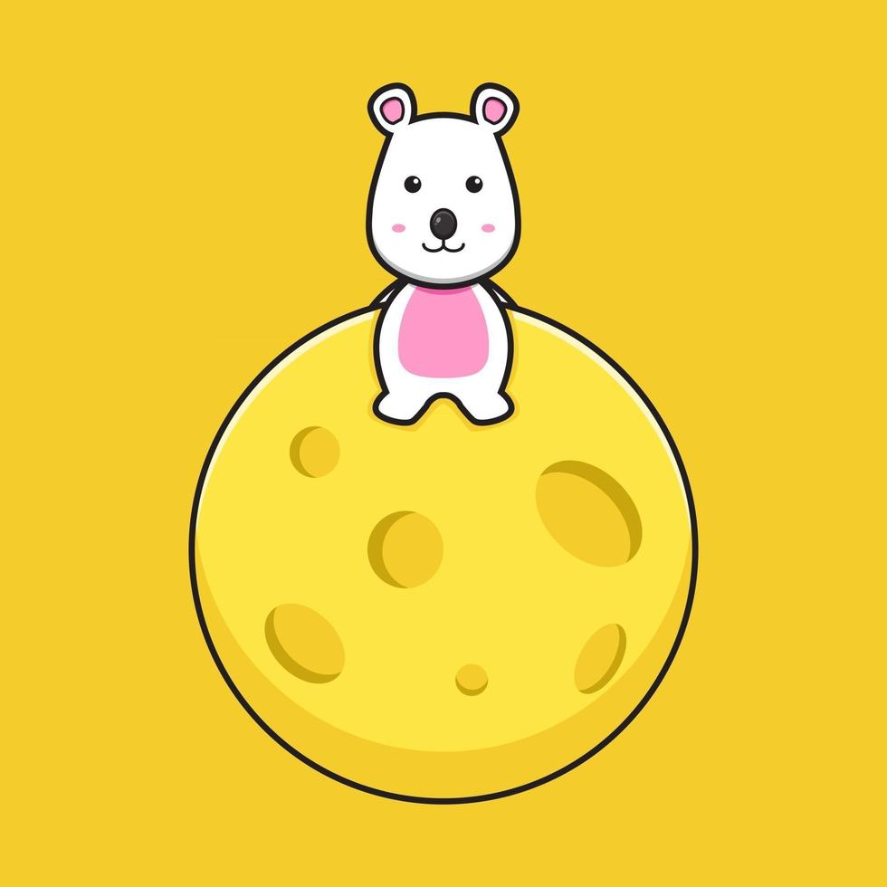 Cute mouse sit on cheese planet cartoon vector icon illustration