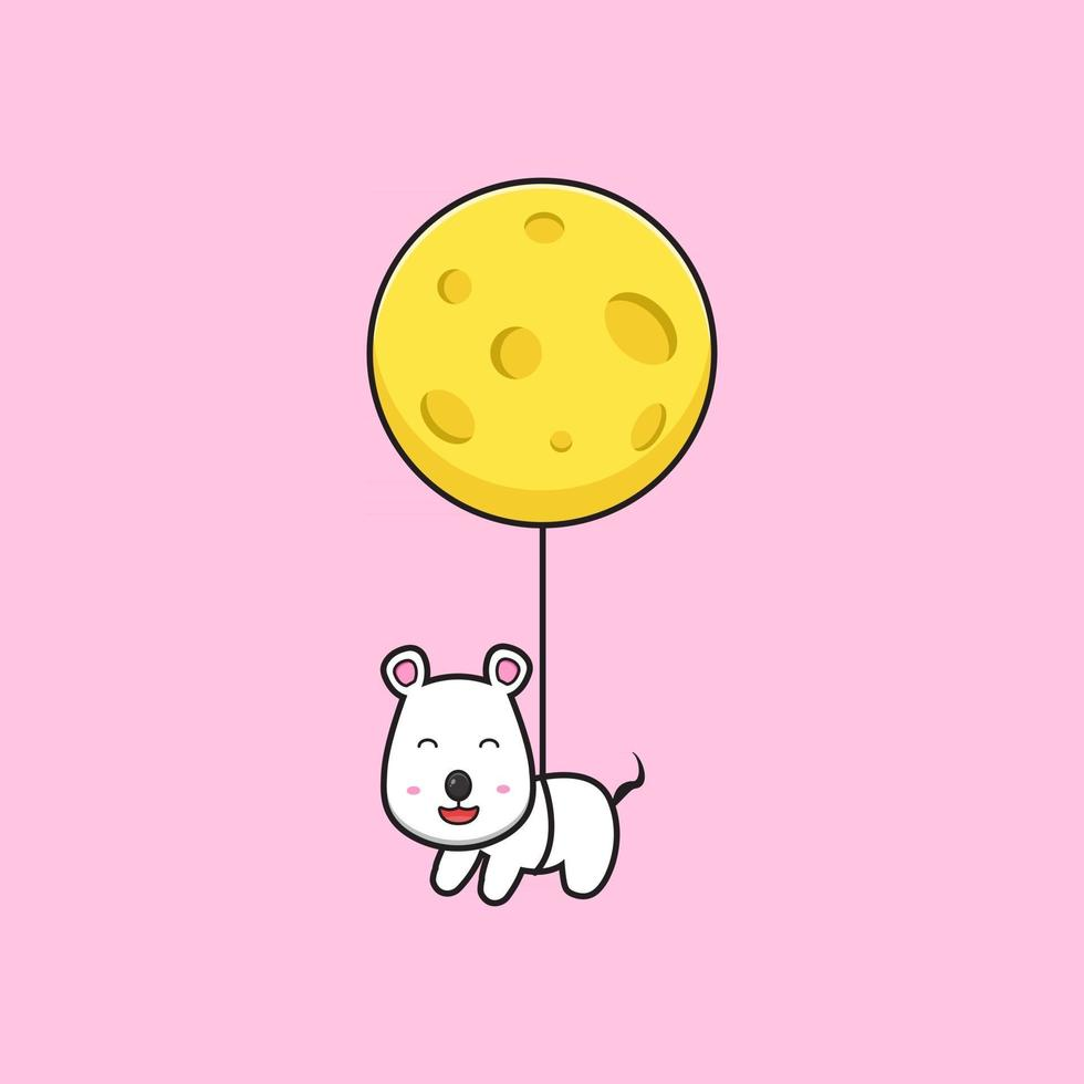 Cute mouse flying with cheese cartoon vector icon illustration