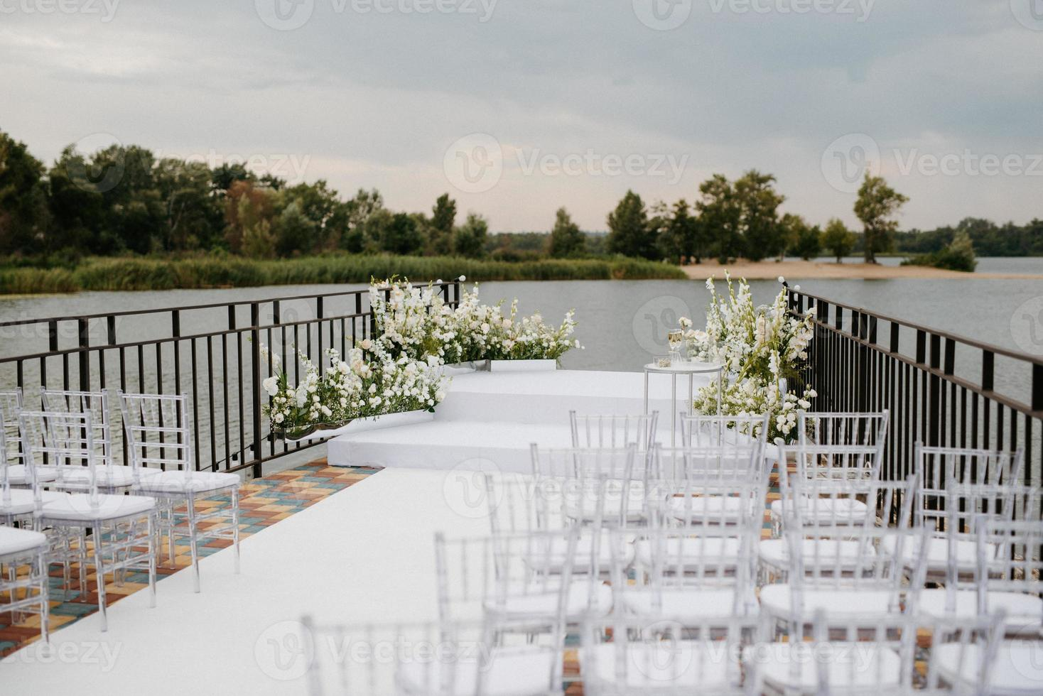 area for the wedding ceremony, on a stone pier photo