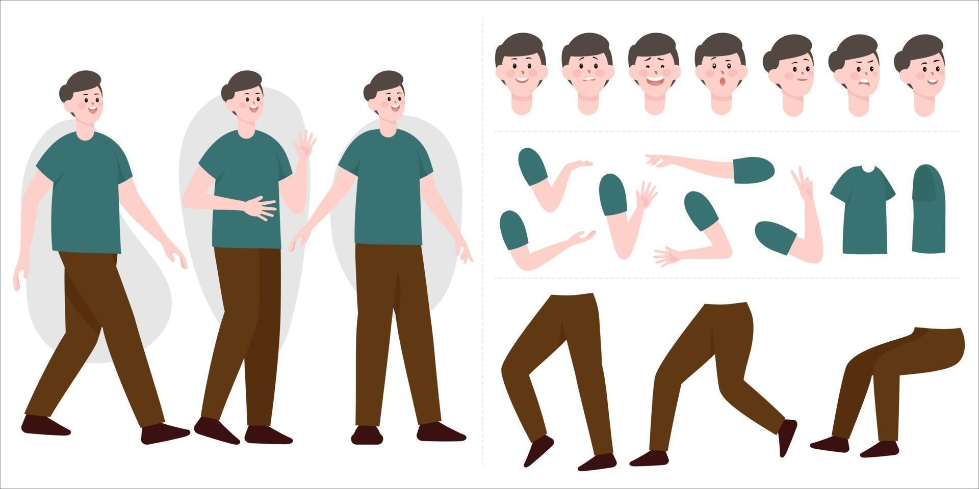 Handsome man constructor in flat style. Parts of body legs and arms , face emotions, haircuts and hands gestures. Vector cartoon Man character