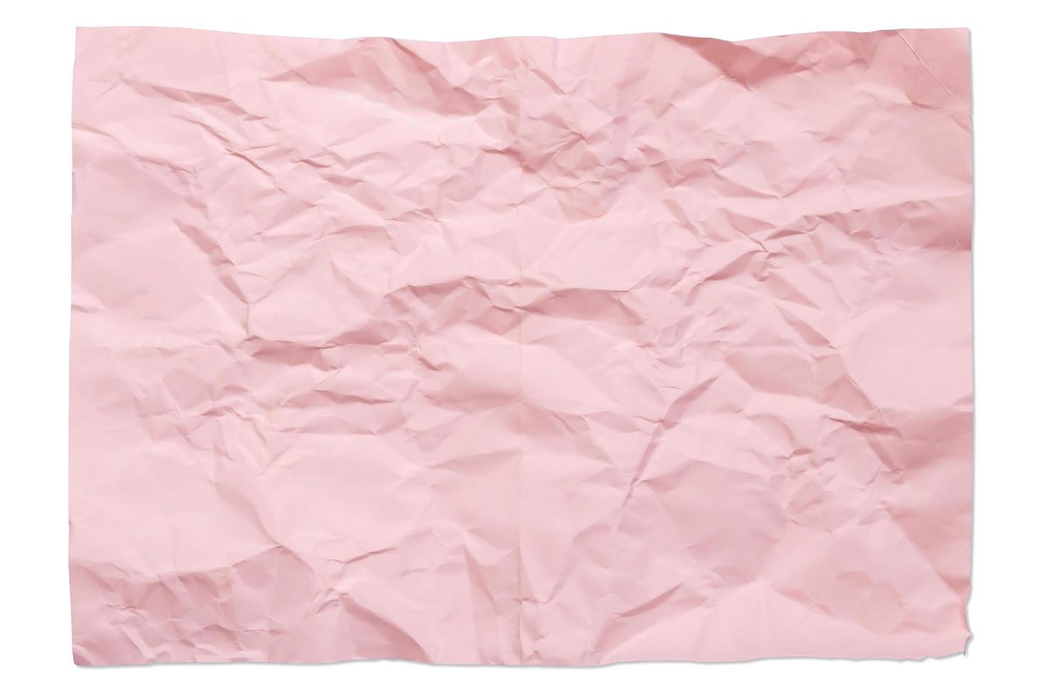 Papel arrugado en blanco de color rosa 4a aislado sobre fondo blanco con sombra foto