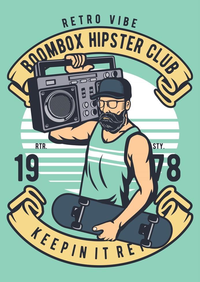 Boombox Hipster Vintage Badge, Retro Badge Design vector