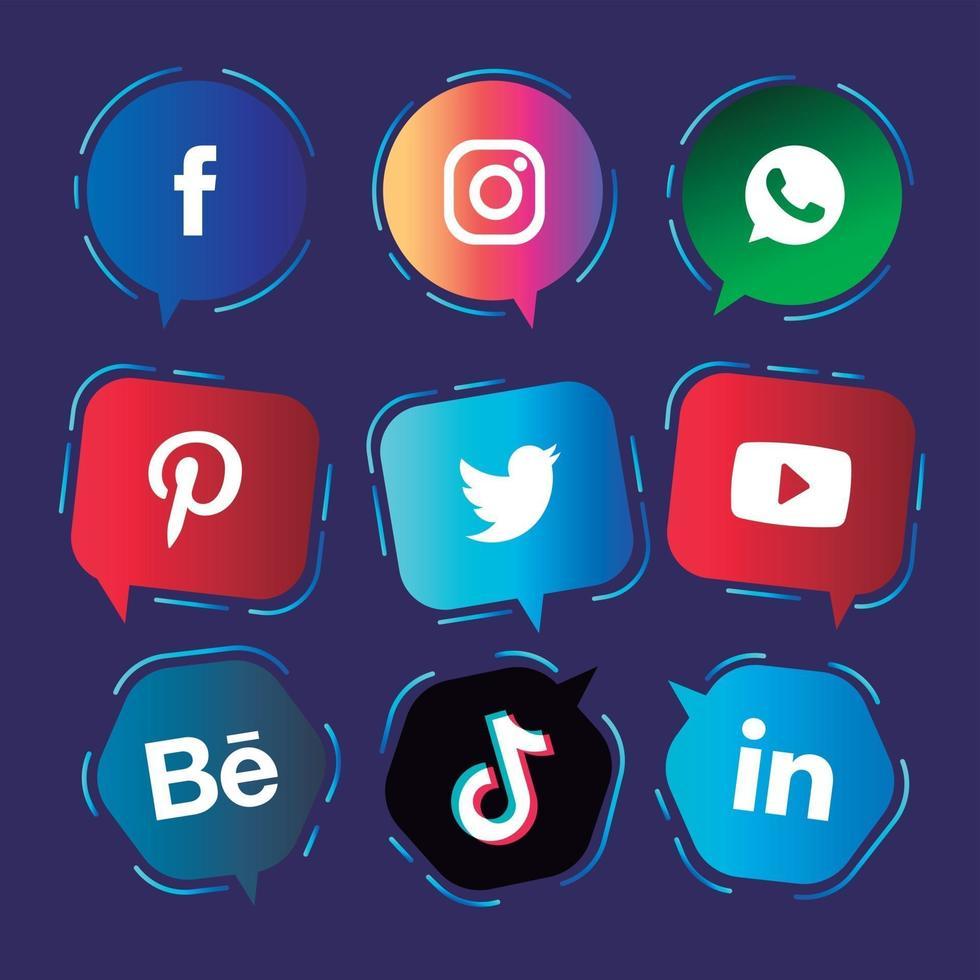 Social media speech balloons icons collection vector