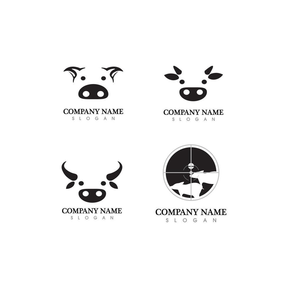 Bull and cow head pig buffalo head cow animal  mascot logo design vector for sport horn buffalo animal mammals head logo wild matador