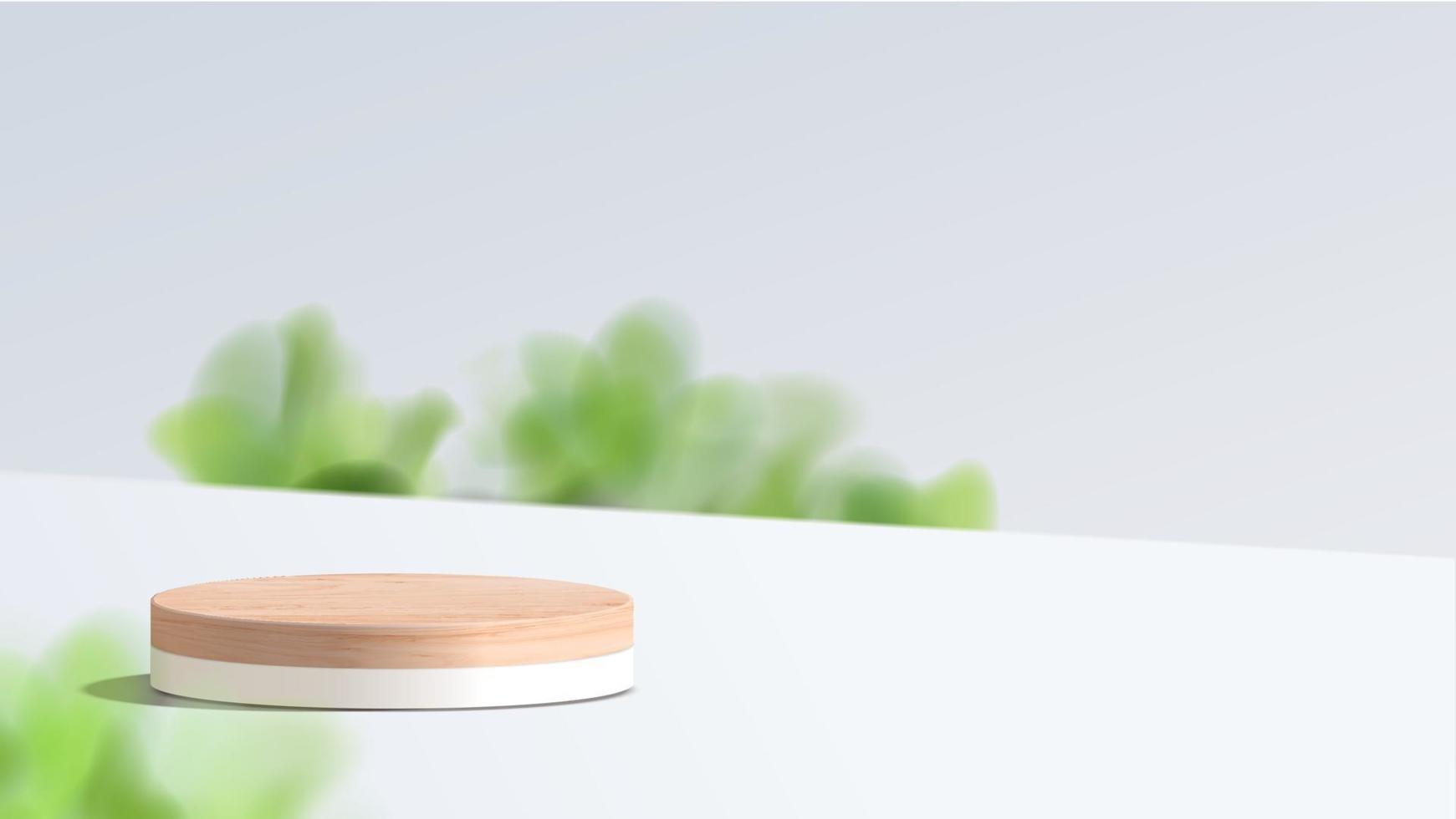 Abstract minimal scene with geometric forms. wood podium in white background. product presentation, mock up, show cosmetic product display, Podium, stage pedestal or platform. 3d vector